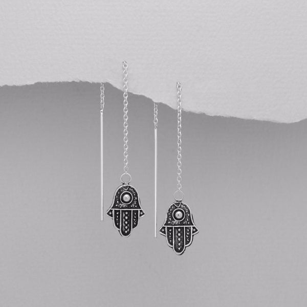 925 Sterling Silver Hamsa Dangling Earrings - FemFit Design
