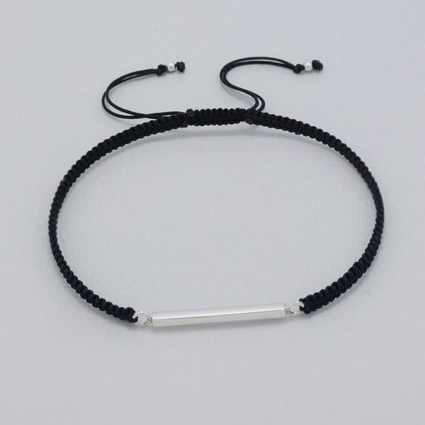 925 Sterling Silver Balance Bar on Silk Bracelet - FemFit Design