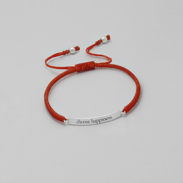 "925 Sterling Silver ""Choose Happiness"" on Waxed Cord Bracelet - FemFit Design"