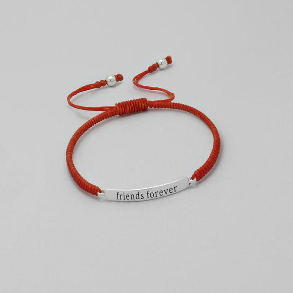 "925 Sterling Silver ""Friends Forever"" on Waxed Cord Bracelet - FemFit Design"