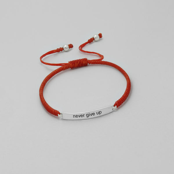 "925 Sterling Silver ""Never give up"" on Waxed Cord Bracelet - FemFit Design"