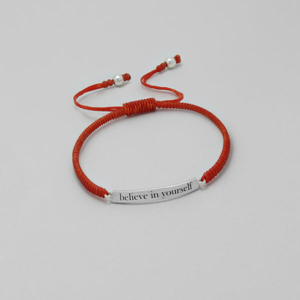 "925 Sterling Silver ""Believe in yourself"" on Waxed Cord Bracelet - FemFit Design"