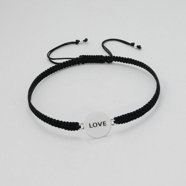 "925 Sterling Silver ""Love"" Plate on Silk Bracelet - FemFit Design"