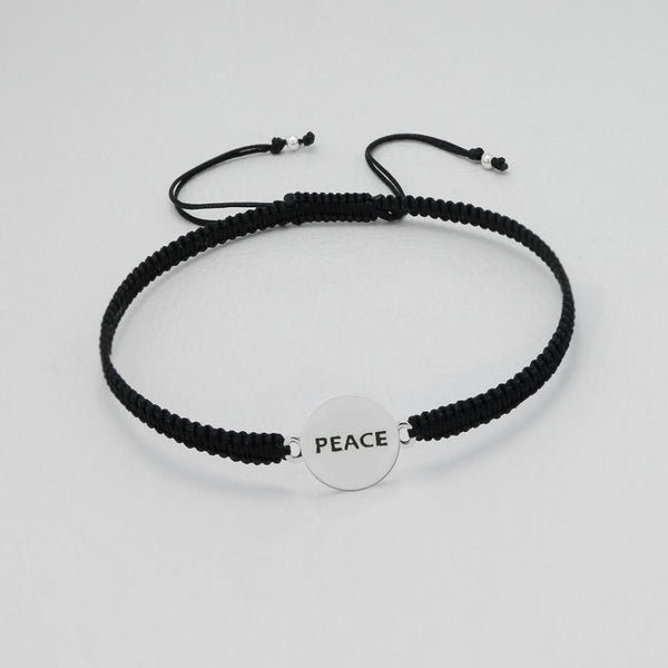 "925 Sterling Silver ""Peace"" Plate on Silk Bracelet - FemFit Design"