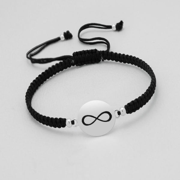 "925 Sterling Silver ""Infinity"" Plate on Silk Bracelet - FemFit Design"