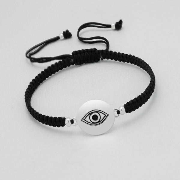 "925 Sterling Silver ""Evil eye"" Plate on Silk Bracelet - FemFit Design"