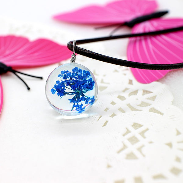 Resin Ball Necklace - Blue Flower - FemFit Design