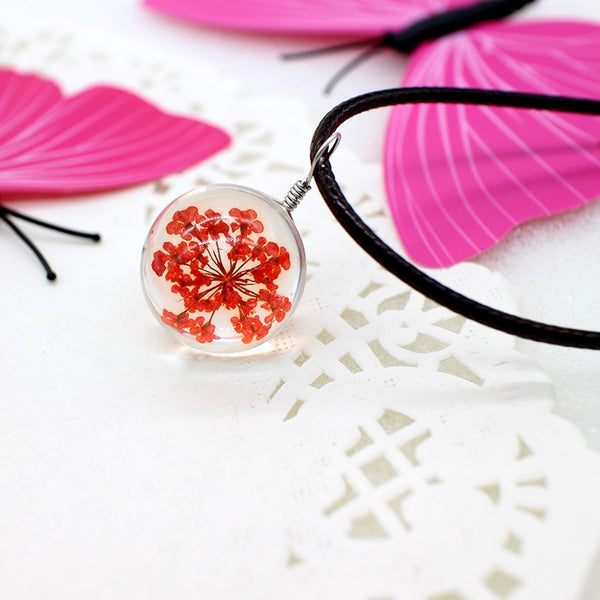 Resin Ball Necklace - Red Flower - FemFit Design