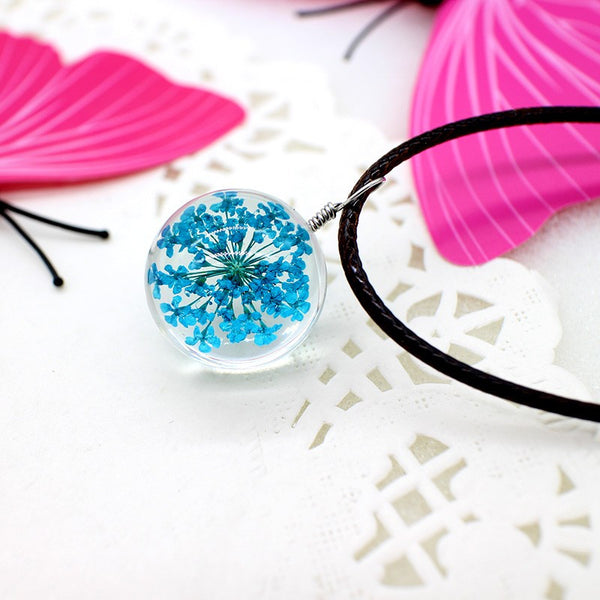 Resin Ball Necklace - Turquoise Flower - FemFit Design