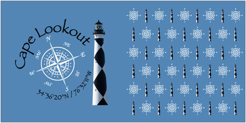 "Double Sided Pillow 16"" x 16"" Cape Lookout and Compass Rose"