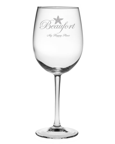 "Beaufort ""My Happy Place"" Wine Glasses"
