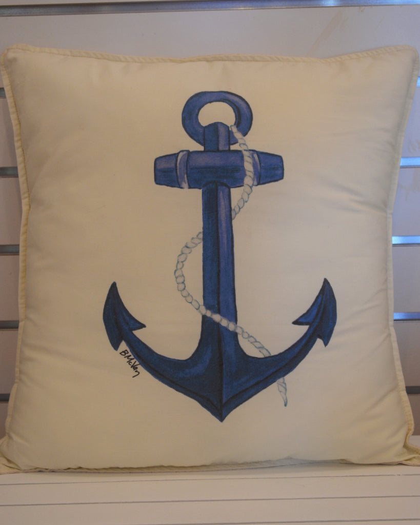 Blue Anchor Pillow 15 X 15