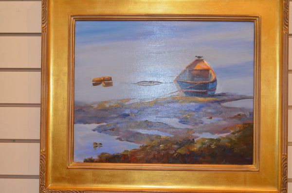 "Framed Donna Robertson Painting ""Bird on a Boat"" 16"" x 20"""
