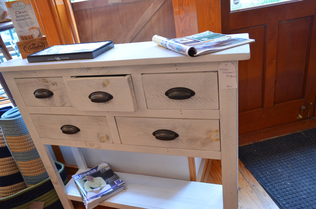Distressed finish White sideboard