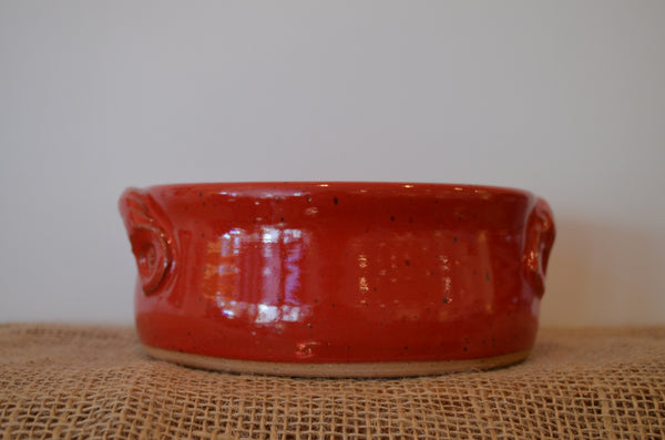 Small cherry red casserole bowl