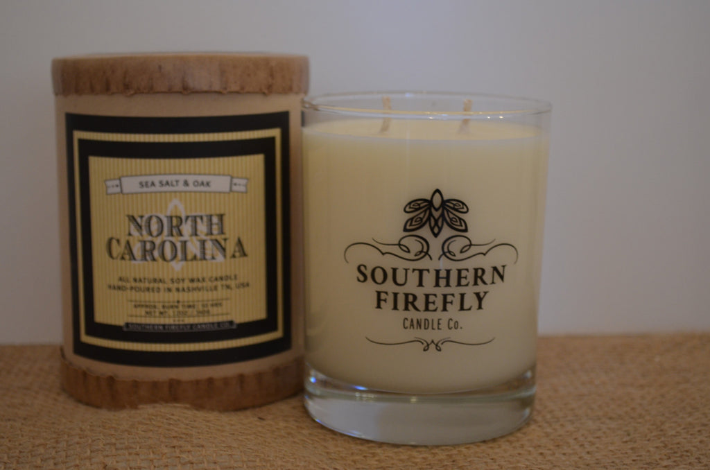Sea Salt and Oak Scented Candle in glass