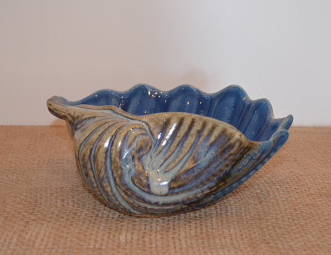 Denim blue clam shell bowl
