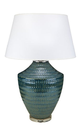 "Denim Blue Textured Ceramic Vase Table Lamp 28""H"