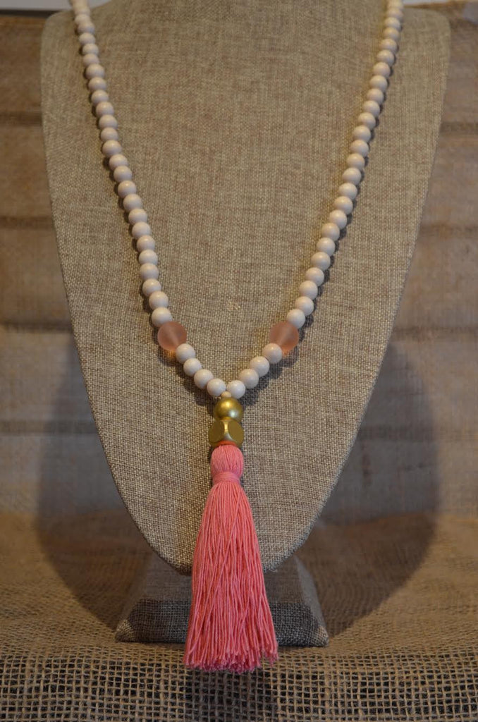 Beaded Necklace with Pink Tassel