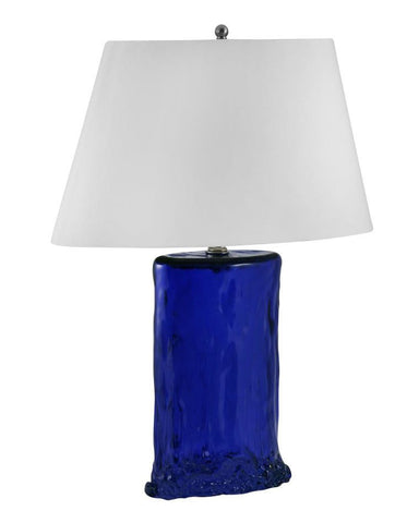 "Ultramarine Oval Recycled Glass Table Lamp 26""H"