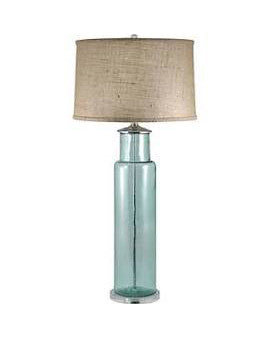 "Sea Blue Recycled Glass Cylinder Table Lamp 30""H"