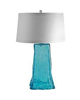 "Aqua Square Recycled Glass Table Lamp 28""H"