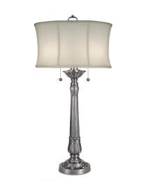 "Pewter Floral Table Lamp 37""H"