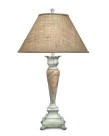 "Distressed Teak-Marble Wood Table Lamp 35""H"