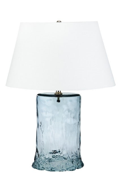 "Blue Oval Recycled Glass Table Lamp 26""H"