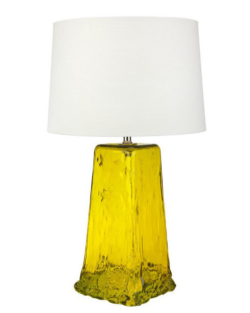 Chartreuse square recycled glass lamp