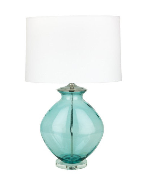"Oval Aquamarine recycled glass table lamp 30""h"