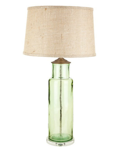 Green recycled glass cylinder table lamp