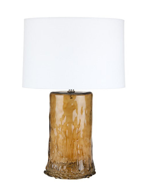 Brown oval recycled glass table lamp