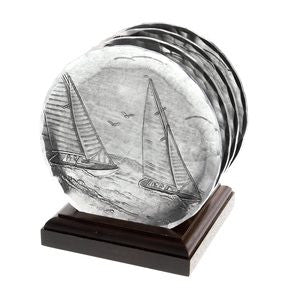 4 piece Sailboat Coaster Set with wooden caddy