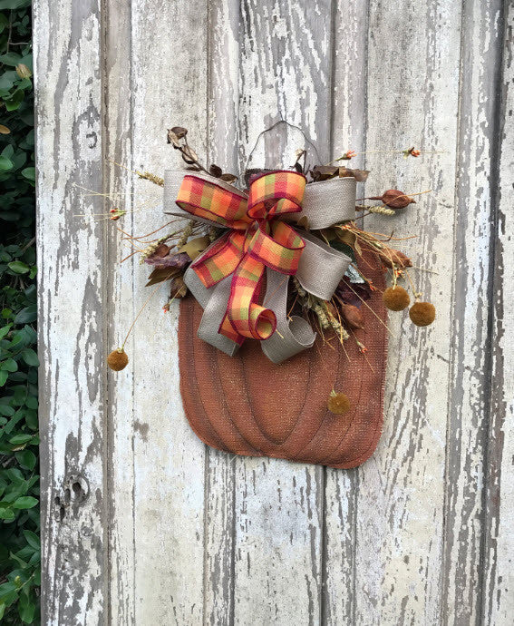 Burlap Pumpkin Fall door hanger