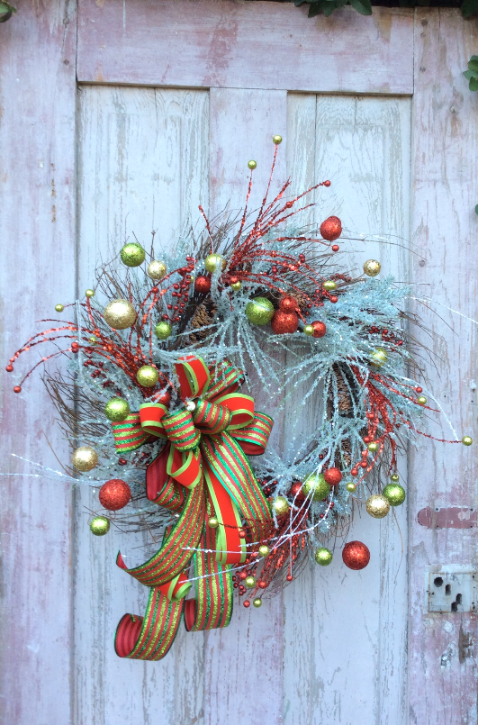 Christmas Flocked Red and Green Ball Wreath