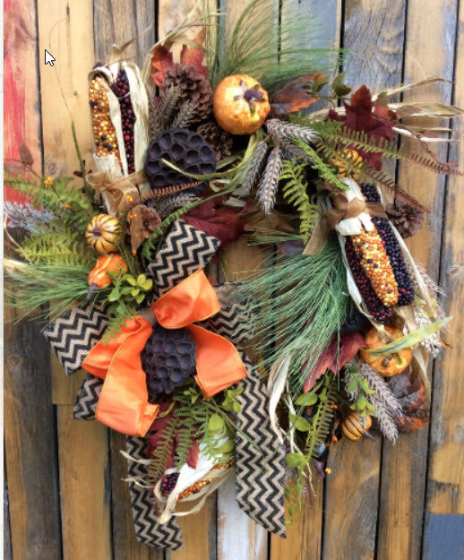 Fall Wreath with corn and burlap ribbon