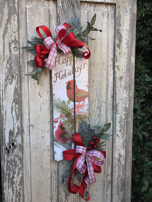 Christmas Red Cardinal Door Sign