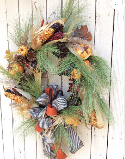 Fall Corn Wreath with pine