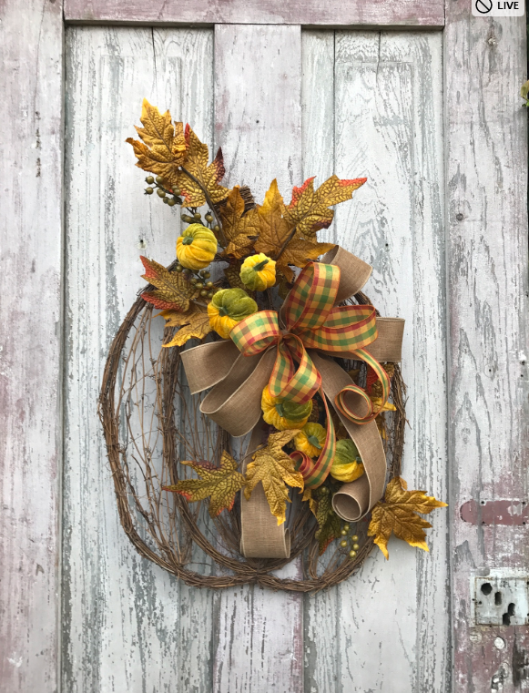 Tall pumpkin wreath