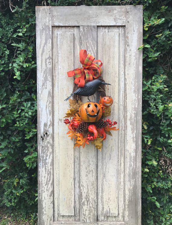 Crow and Jack-o-Lantern Wreath