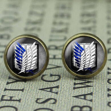 Attack on Titan brass Stud Earrings Women 12mm/0.47inch