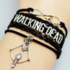 Black Leather Braided Velvet Infinity Love Walking Dead Bracelet