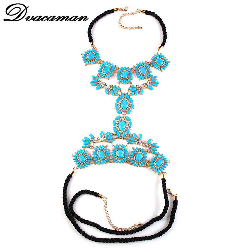 Dvacaman necklace colorful long body jewelry women crystal