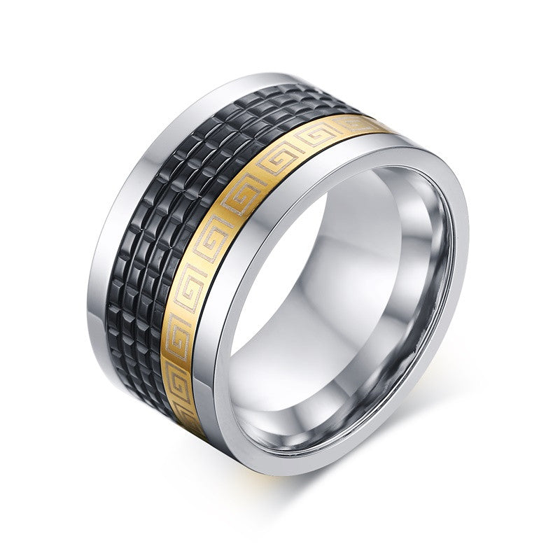 Stainless steel mens ring with greek key pattern black 18k gold plated ring