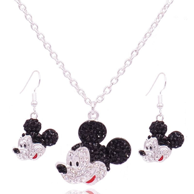 Mickey Head Pendant Mouse Necklaces Rhine stone matching earrings