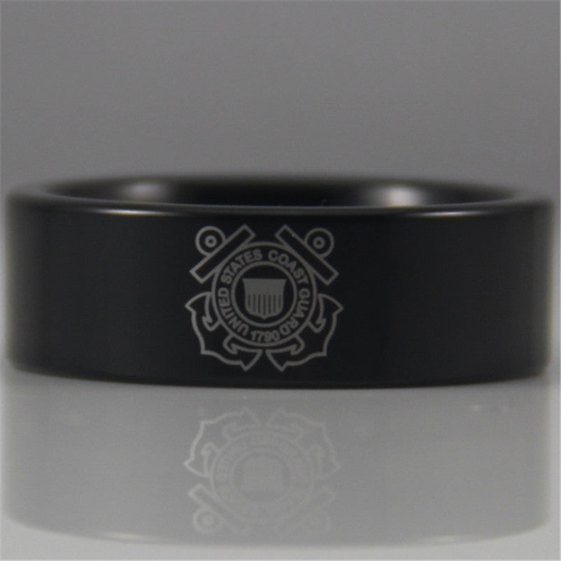 8MM Black Pipe Coast Guard Design New Tungsten Comfort Fit Ring