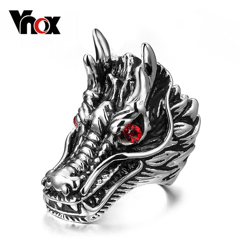Dragon Head Rings For Men Punk Rock Style Party Men Red Stone Rings