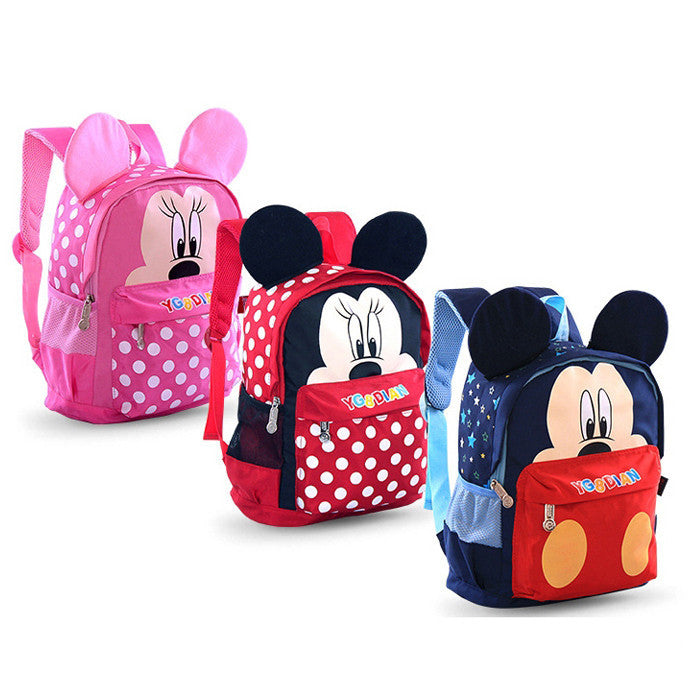 Children School Bag Cartoon Mickey Mouse Canvas Backpack