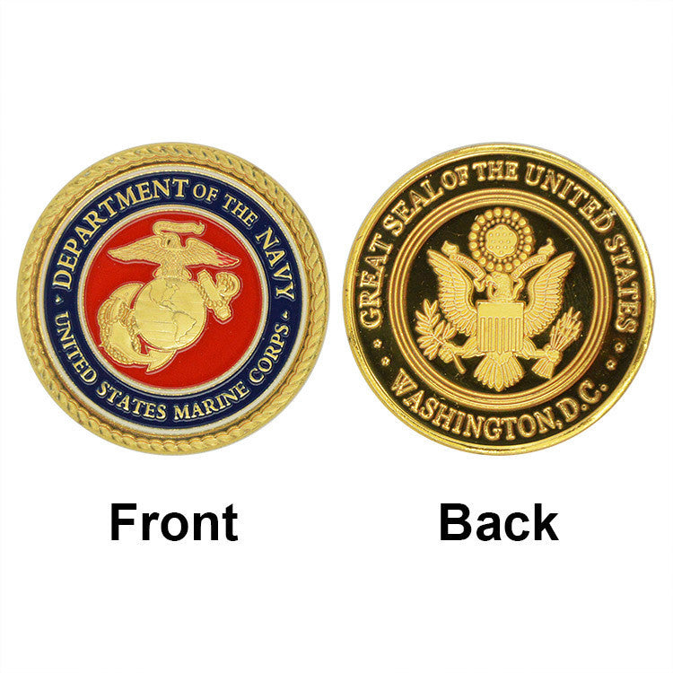 Marine Corps Colorful Gold Plated Coin Challenge Coin Medal 40*3 Souvenr Commemorative Coin